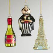 Glass France Ornaments, Set of 3