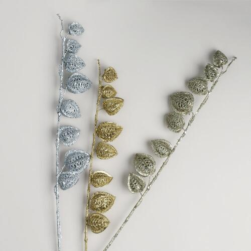 Glittered Chinese Lantern Stems, Set of 3
