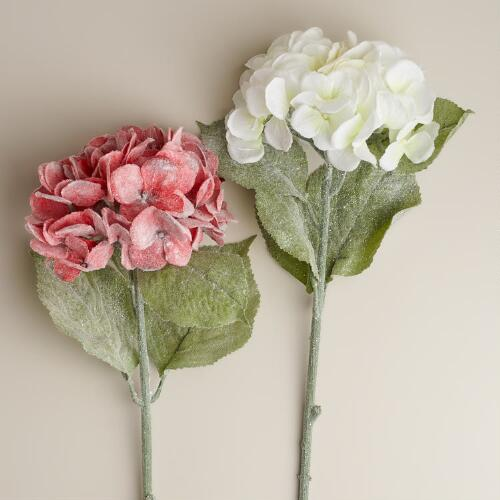 Frosted Hydrangea Stems, Set of 2