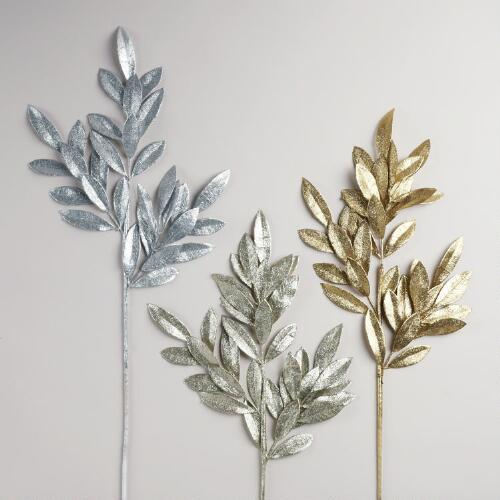 Bay Leaf Glitter Stem, Set of 3