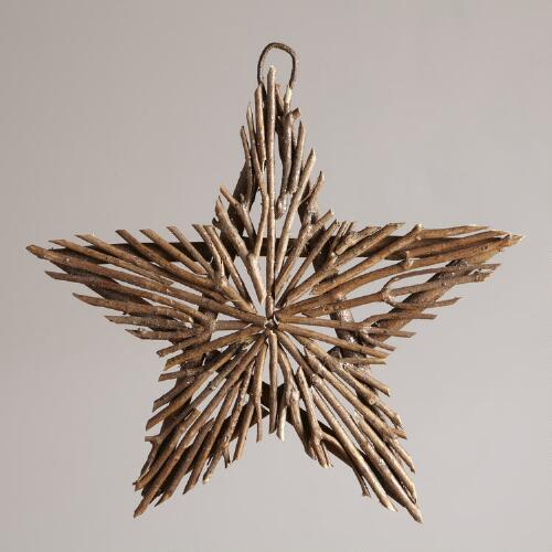 Twig and Glitter Star Wall Decor