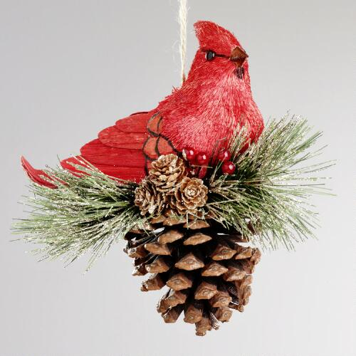 Natural Fiber Cardinal on Pinecone