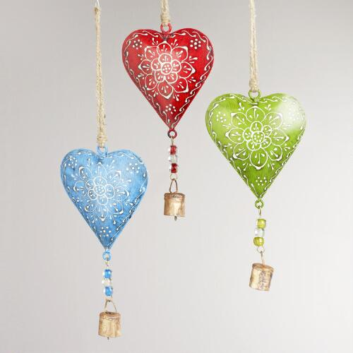 Metal Heart Chimes, Set of 3