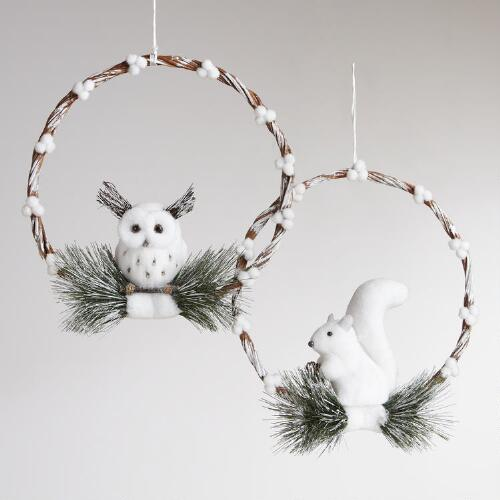 Squirrel and Owl Wreaths, Set of 2