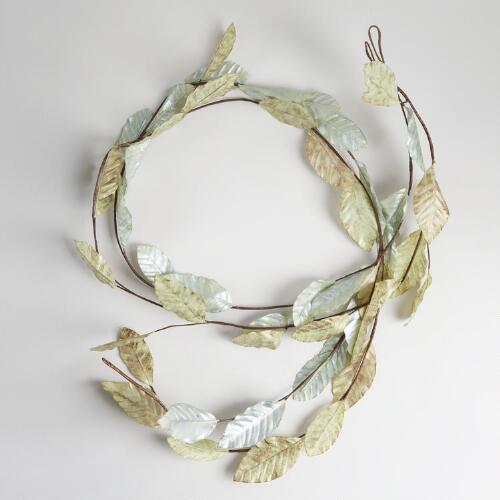 Silver and Gold Glitter Leaf Garlands, Set of 2