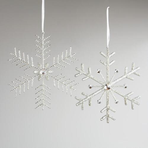 Large Beaded Snowflake Décor, Set of 2