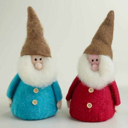 Large Felt Gnomes, Set of 2