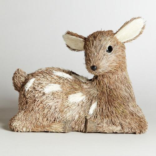 Natural Fiber Sitting Baby Deer