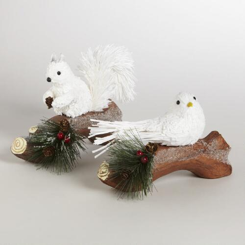 Paper Squirrel and Bird on Branch Décor, Set of 2