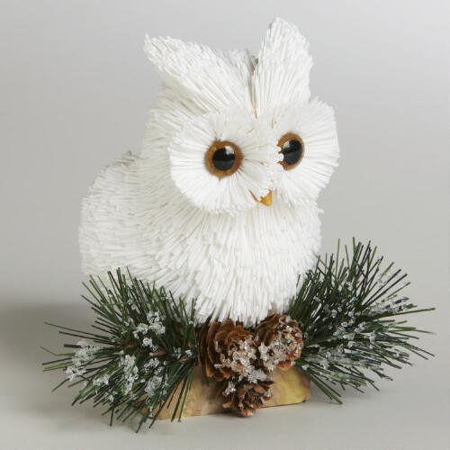 Paper Owl on Stump with Natural Pinecones