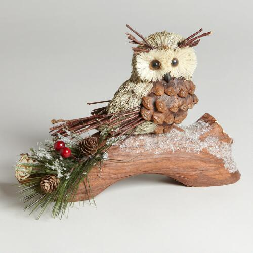 Pinecone Owl on Branch