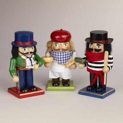 Spanish, French and Italian Chubby Nutcrackers, Set of 3