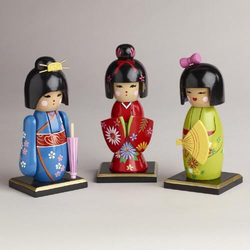 Kokeshi Nutcrackers, Set of 3