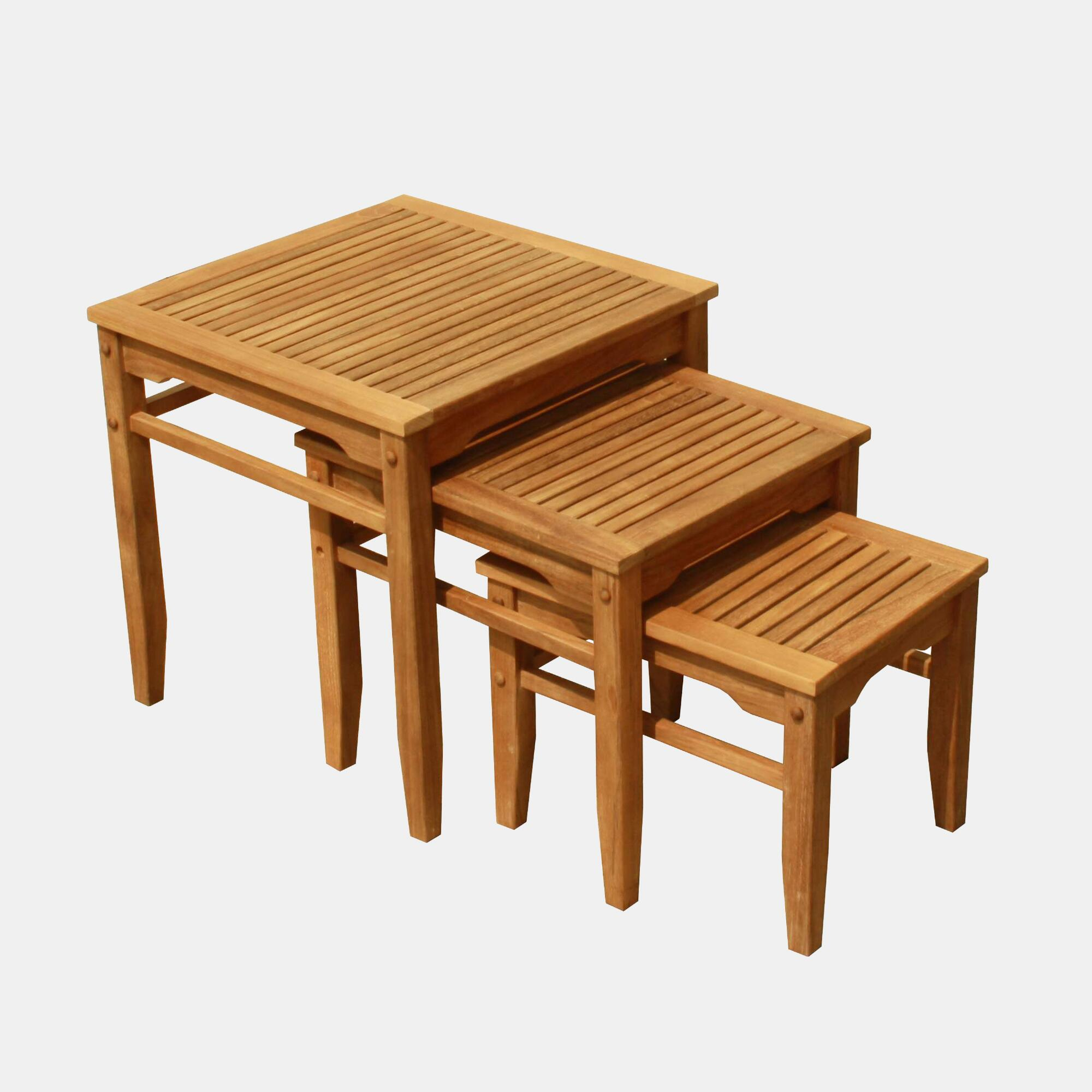 Teak Nesting Tables Set Of 3 World Market. Full resolution  portraiture, nominally Width 2000 Height 2000 pixels, portraiture with #411A06.