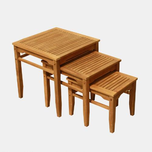 Teak Nesting Tables, Set of 3