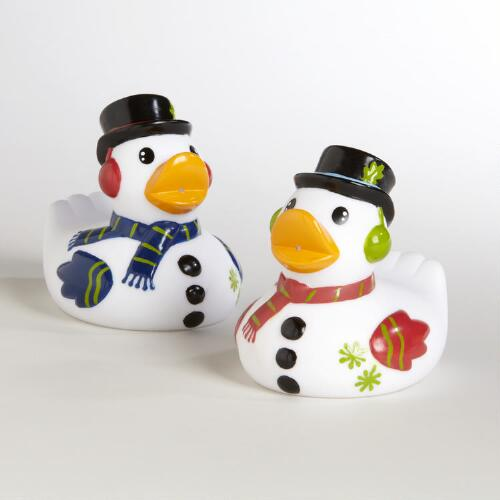 Snowmen Rubber Ducks, Set of 2
