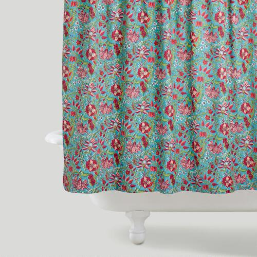 Teal Floral Maya Shower Curtain