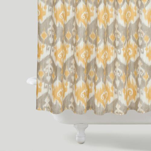 Golden Ikat Shower Curtain