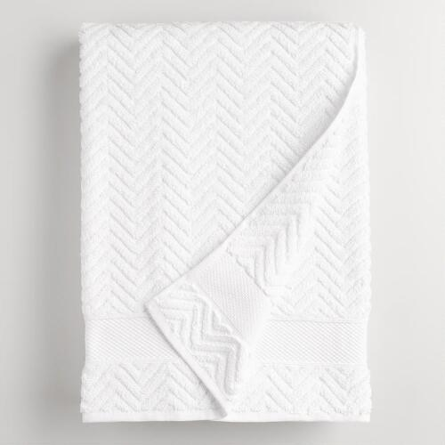 White Chevron Spa Bath Towel