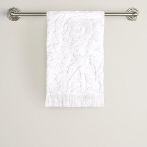 White Sculpted Francesca Hand Towel