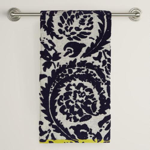 Navy and Ivory Sculpted Sofia Bath Towel