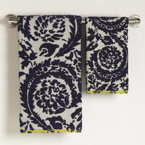 Sofia Navy Ivory Sculptured Bath Towel Collection