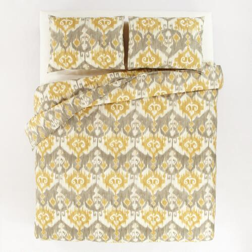 Golden Ikat Duvet and Pillow Shams Set