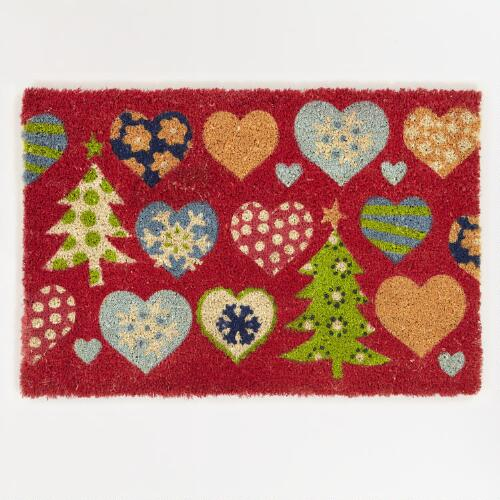 Hearts and Alpine Trees Doormat