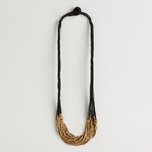 Black and Gold Beaded Multi-Strand Necklace