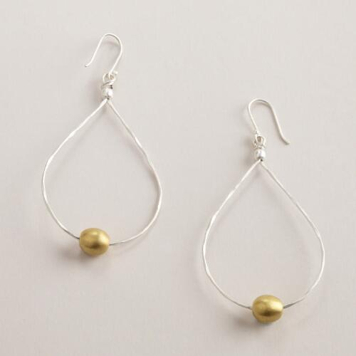 Silver and Gold Ball Hoop Earrings