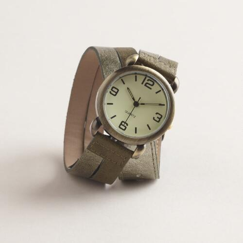 Olive Metallic Wrap Watch