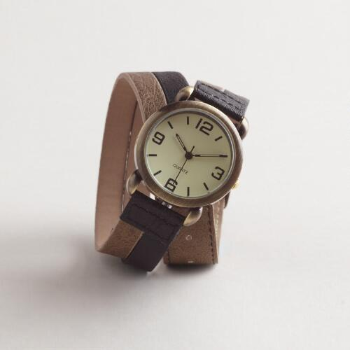 Brown Metallic Wrap Watch