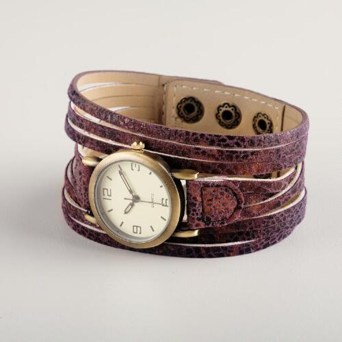 Purple Snakeskin Multi-strand Watch