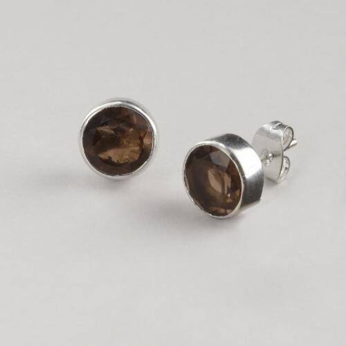 Smoky Topaz and Silver Stud Earrings