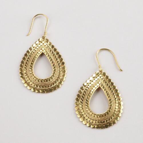 Gold Dot Teardrop Earrings