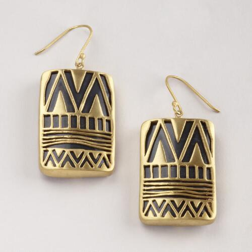 Gold Over Black Drop Earrings