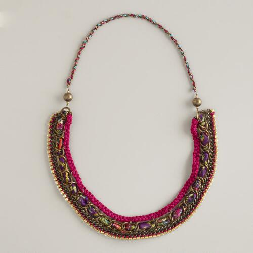 Fabric, Chain and Rhinestone Necklace