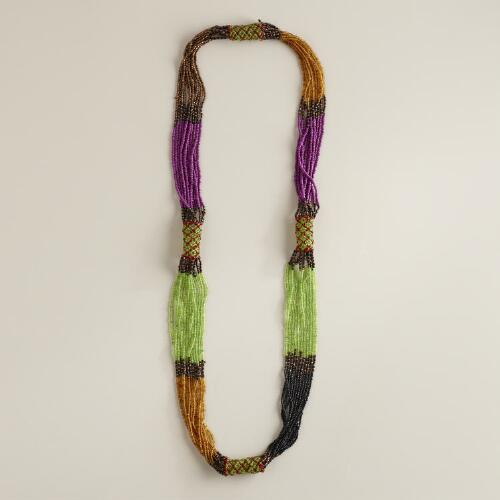 Green, Purple and Copper Beaded Necklace