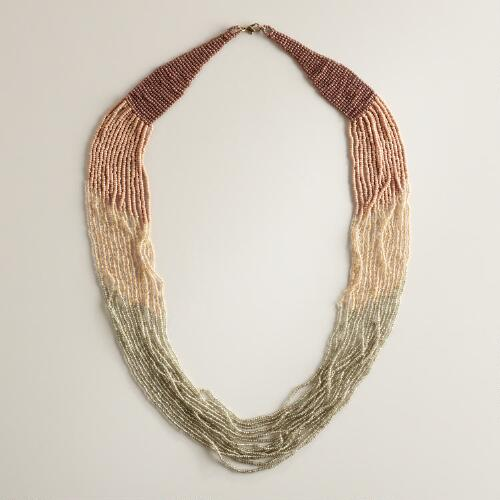 Blush and Silver Ombre Seed Bead Necklace