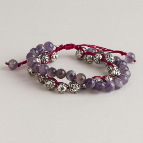 Purple and Silver Roses Friendship Bracelet