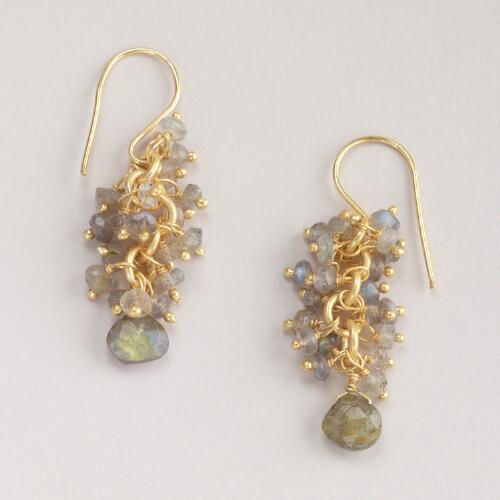 Labradorite Cluster Drop Earrings