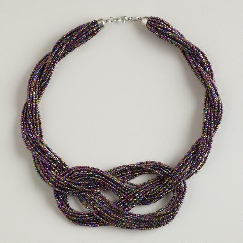 Purple Knotted Seed Bead Necklace