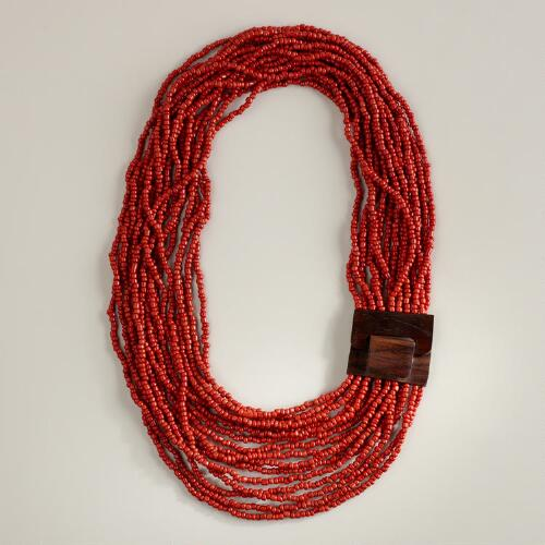 Chunky Red Necklace with Wood Clasp