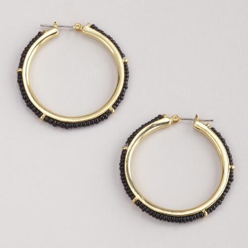 Black Beaded Gold Hoop Earrings