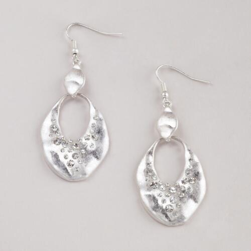 Matte Silver and Rhinestone Earrings
