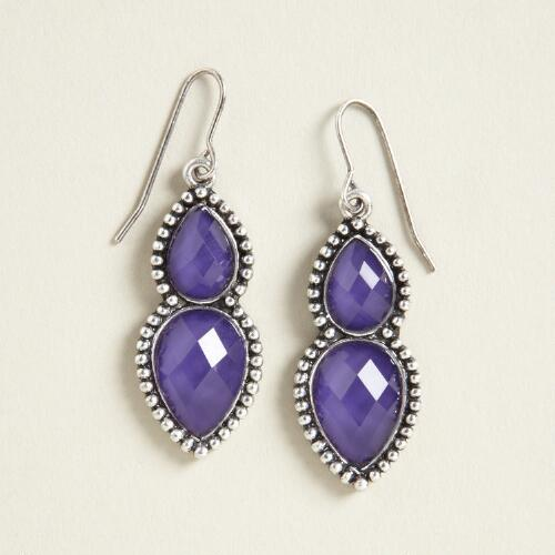 Purple and Silver Double Drop Earrings