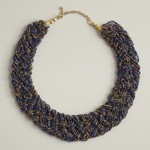 Blue and Bronze Braided Seed Bead Necklace