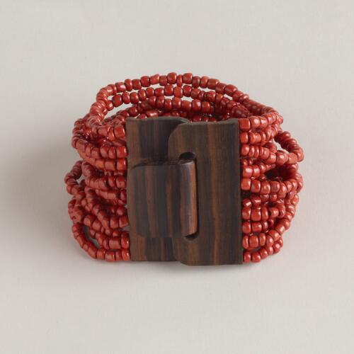 Chunky Red Bracelet with Wood Clasp
