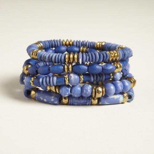 Blue and Brass Bead Stretch Bracelets, Set of 5