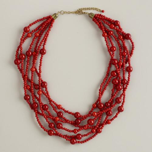 Red Glass Six-Strand Necklace
